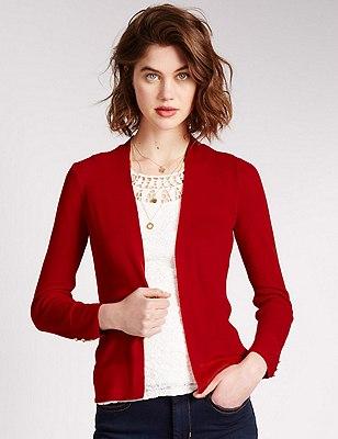 Open Front Cardigan, RED, catlanding