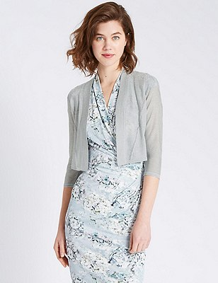 Tailored Fit Metallic Effect Cover Up Cardigan, SILVER, catlanding
