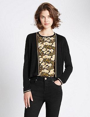 Loose Fit Long Sleeve Cardigans, BLACK, catlanding