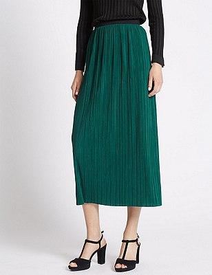 Plisse Rippled Pencil Skirt, DARK GREEN, catlanding