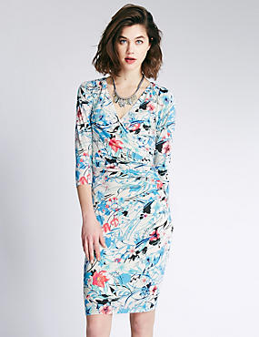 V Neck Floral Wrap Dress