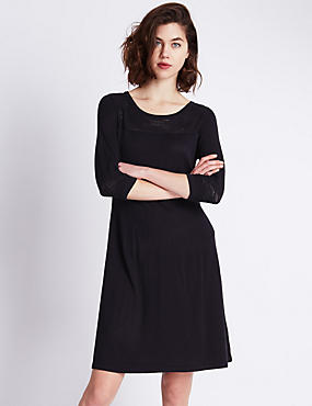 Wave Stitch Swing Fit & Flare Knitted Dress