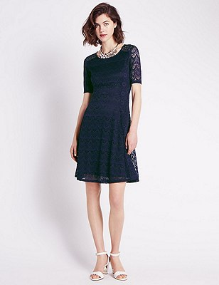 Lace Fit & Flare Dress, DARK PURPLE, catlanding