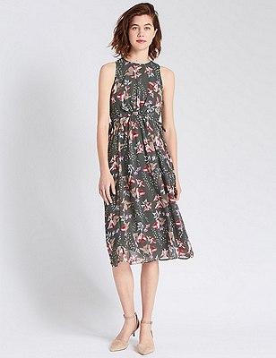 Floral Fit & Flare Dress, GREY MIX, catlanding