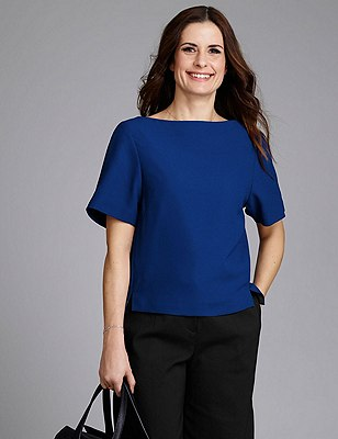 Short Sleeve Shell Top, RICH BLUE, catlanding