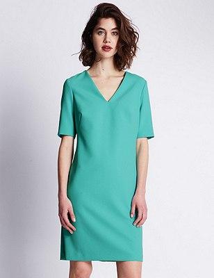 Speziale Half Sleeve Shift Dress, AQUA, catlanding