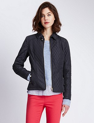 Diamond Quilted Jacket with Stormwear™, NAVY, catlanding