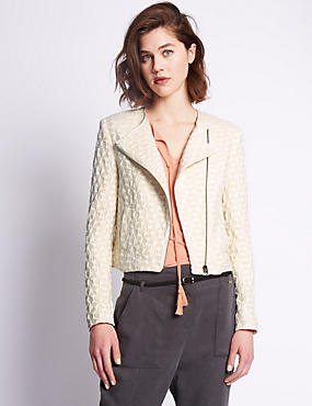 Textured Jacket with Wool