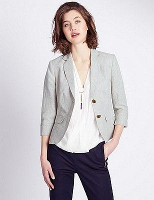 Pure Linen Notch Lapel Jacket, NATURAL, catlanding
