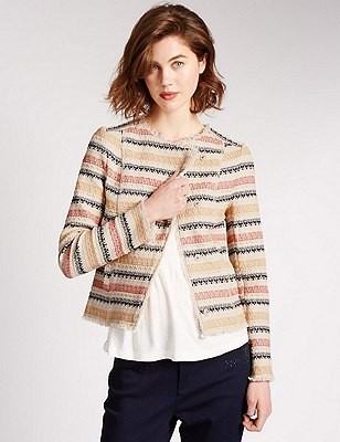 Cotton Rich Textured Striped Jacket, MULTI, catlanding