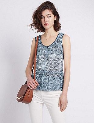 Cross Stitch Burnout Vest Top, NAVY MIX, catlanding