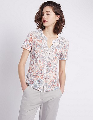 Floral Burnout Blouse, MULTI, catlanding