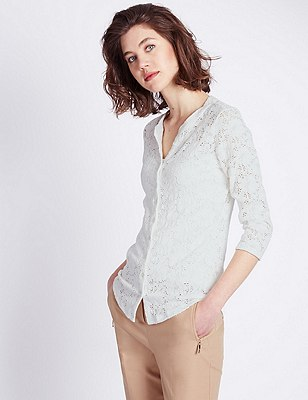3/4 Sleeve Floral Lace Blouse, IVORY, catlanding
