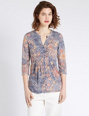 Loose Fit Floral Blouse, MULTI, catlanding