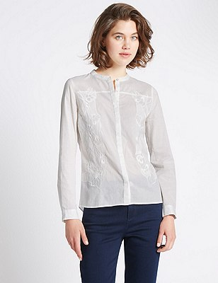 Pure Cotton Loose Fit Lace Blouse, IVORY MIX, catlanding