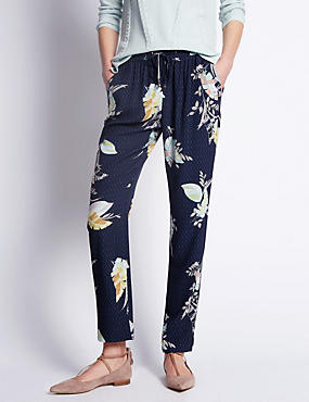 Spotted Leaf Print Tapered Leg Trousers