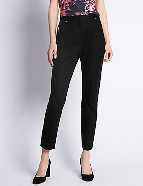 Roma Rise Cotton Rich Ankle Grazer Trousers