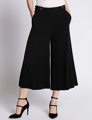Tabby Cullotte Wide Leg Trouser, BLACK, catlanding