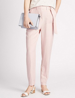 Roma Rise D Ring Belted Tapered Leg Trousers with Linen, SOFT PINK, catlanding