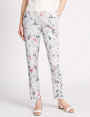 Roma Rise Floral Tapered Leg Trousers, IVORY MIX, catlanding