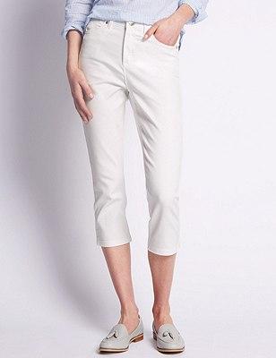 Roma Rise Cropped Denim Jeans, SOFT WHITE, catlanding