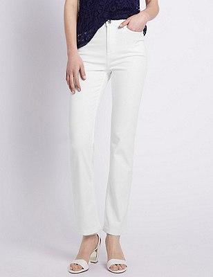 Embellished Roma Rise Straight Leg Jeans, WHITE, catlanding