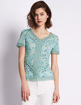 Leaf Print Crochet Trimmed Top