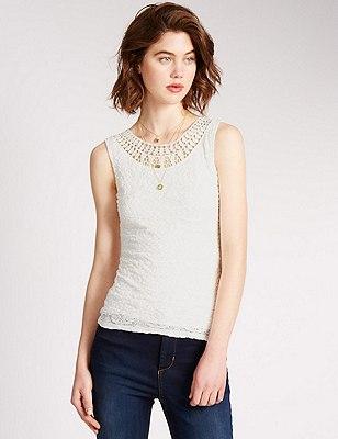 Bubble Lace Vest, IVORY, catlanding