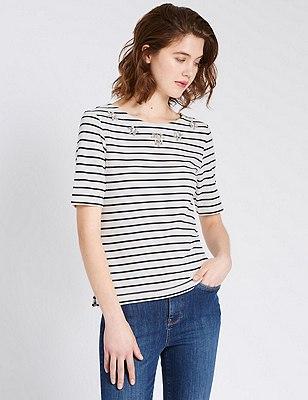 Loose Fit Embellished Neck Striped Top, NAVY/WHITE, catlanding