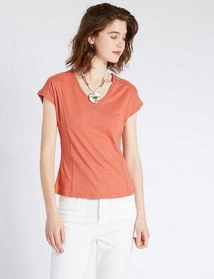 Slim Fit Shoulder Lace Panel T-Shirt with Modal, COPPER ROSE, catlanding