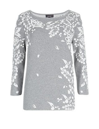 Pure Cotton Leaf Print Textured Jumper Clothing