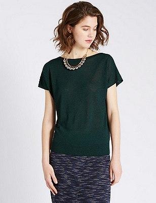 Loose Fit Metallic Effect Knitted Top, BOTTLE GREEN, catlanding