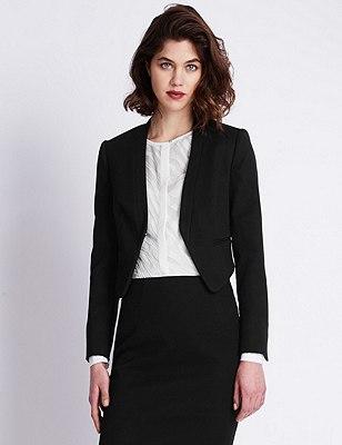 Speziale Cotton Rich Cropped Blazer, BLACK, catlanding