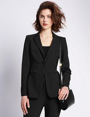 Speziale Long Sleeve 1 Button Blazer, BLACK, catlanding