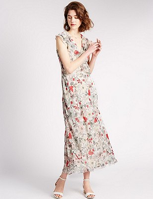 Loose Fit Waterfall Floral Maxi Dress, MULTI, catlanding