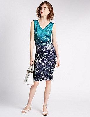 Rechte jurk met bloem- en scubamotief, TURKOOIS MIX, catlanding