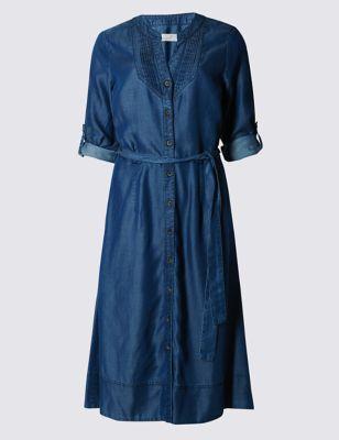 Расклешённое платье-рубашка из лиоцелла