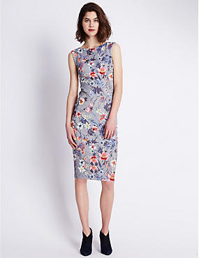 Floral Scuba Bodycon Dress
