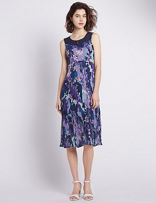 Floral Embroidered Lace Yoke Crinkle Shift Dress, MULTI, catlanding