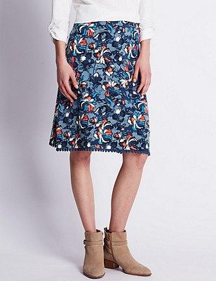 Cotton Rich Floral A-Line Skirt, MULTI, catlanding