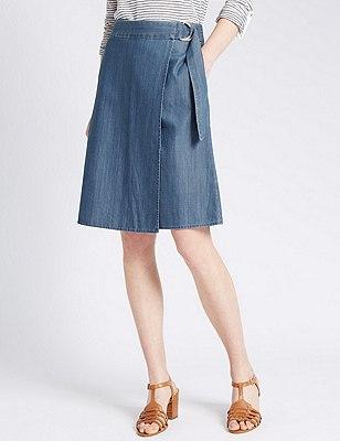 Loose Fit Denim A-Line Wrap Skirt, INDIGO, catlanding