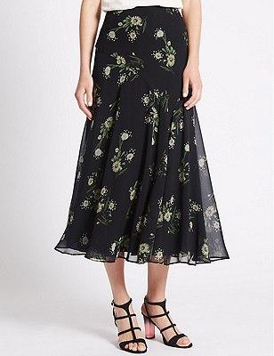 Tailored Fit A-line Skirt, BLACK MIX, catlanding