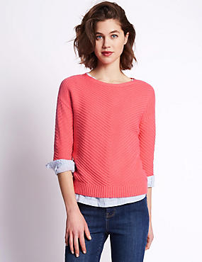 3/4 Sleeve Soft Chevron Textured Jumper