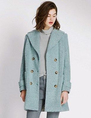Bouclé Textured Coat with Wool, DUSTY GREEN, catlanding