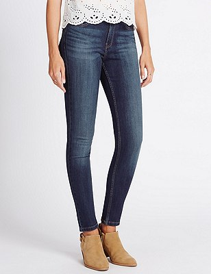 Washed Look Skinny Fit Denim Jeans, MED BLUE DENIM, catlanding