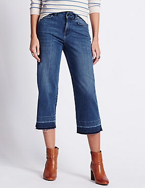 Let Down Hem Cropped Denim Jeans
