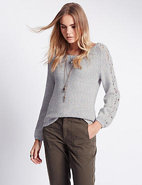 Cotton Rich Pointelle Sleeve Jumper