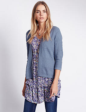 Pure Cotton Open Front Pointelle Cardigan