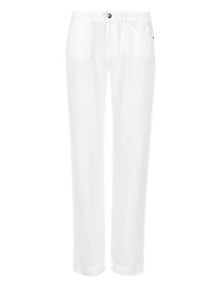 Pure Linen Boyfriend Straight Leg Trousers Clothing