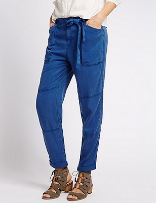 Tapered Leg Cargo Trousers with Belt, , catlanding